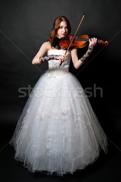Lány fehér ruha hegedű fekete arc fa Stock fotó © zybr78