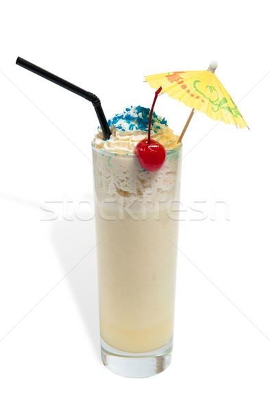 Stock fotó: üveg · izolált · fehér · étel · ital · reggeli