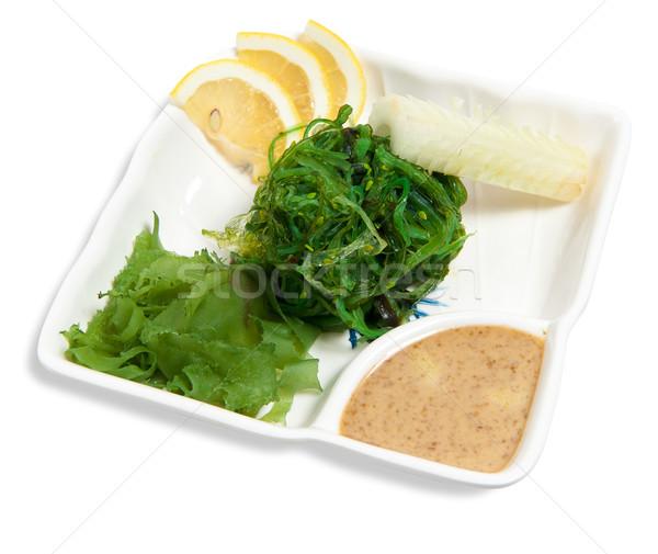 Saláta marinált hínár izolált fehér étel Stock fotó © zybr78