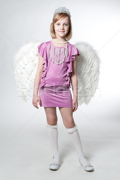 little princess in purple dress and wings Stock photo © zybr78