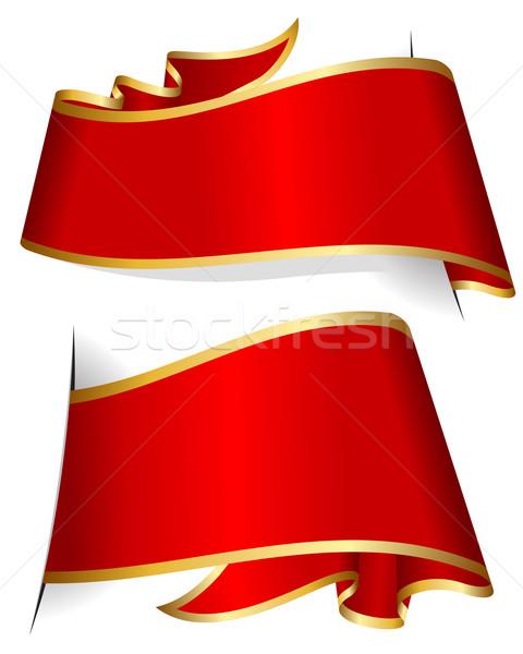 Vörös szalag gyűjtemény izolált fehér csoport piros Stock fotó © zybr78