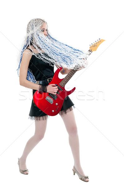 Dziewczyna gitarzysta czerwony gitara młodych biały Zdjęcia stock © zybr78