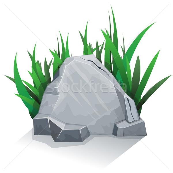 Kő fű gránit művészet zöld rajz Stock fotó © zybr78