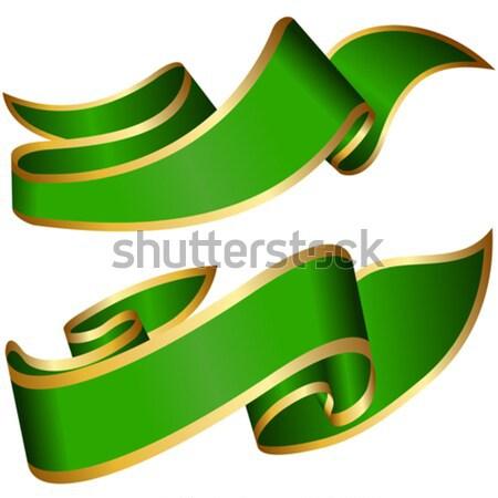 Zöld szalag gyűjtemény izolált fehér csoport Stock fotó © zybr78