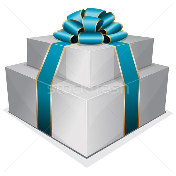 Köteg ajándék doboz íj fehér papír fa Stock fotó © zybr78