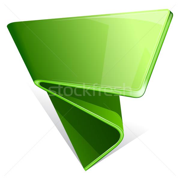 Etiket kıvrılmış kenar arka plan sanat yeşil Stok fotoğraf © zybr78