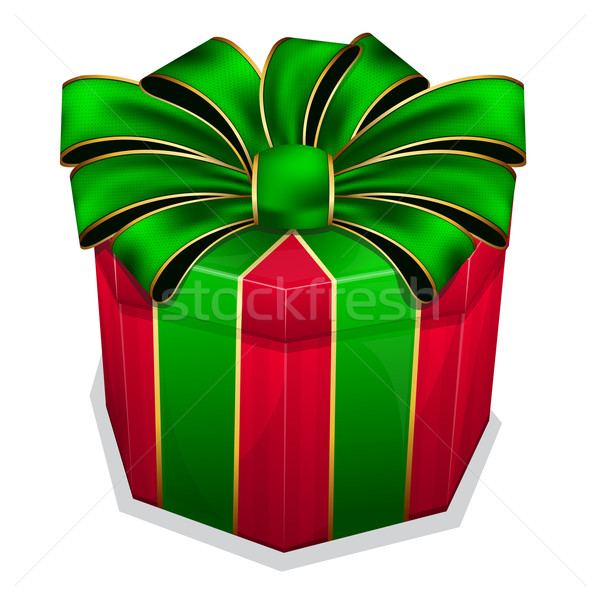 Red gift box with green bow Stock photo © zybr78
