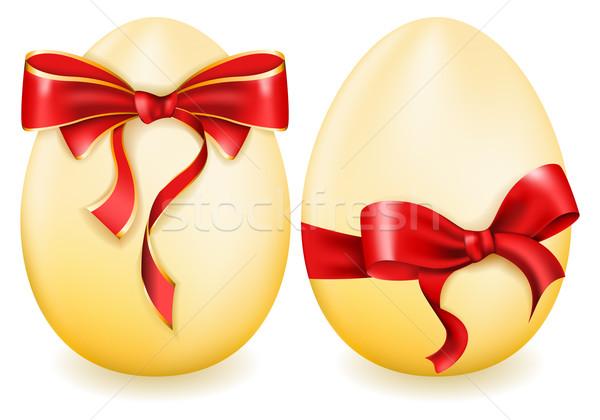 Húsvéti tojás íj fehér étel boldog tojás Stock fotó © zybr78