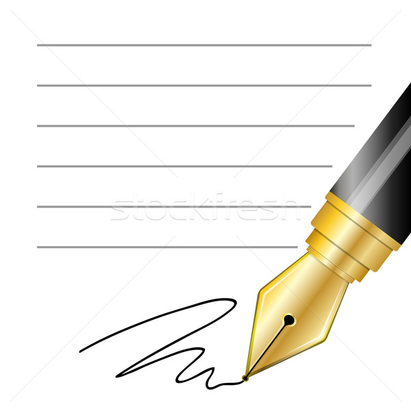 Close up of a fountain pen and signature Stock photo © zybr78