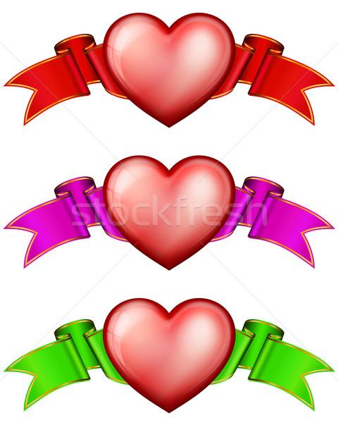 Coleção corações fita dia dos namorados coração dom Foto stock © zybr78