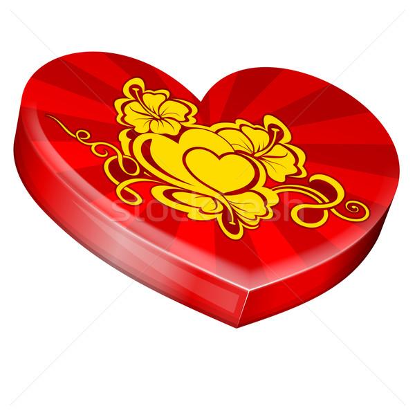 Szívek forma ajándék doboz szív alak valentin nap szív Stock fotó © zybr78