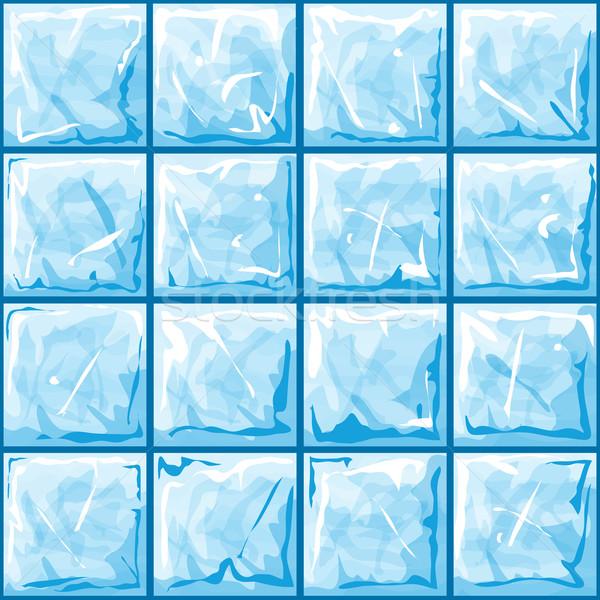 Kék jég végtelen minta tégla háttér kő Stock fotó © zybr78