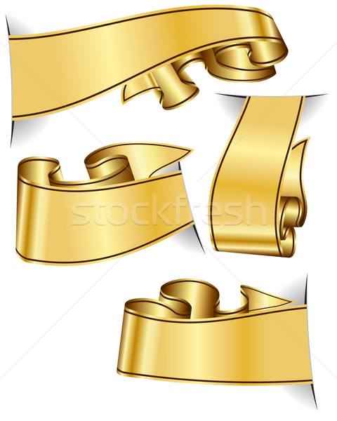 Gold ribbon collection Stock photo © zybr78