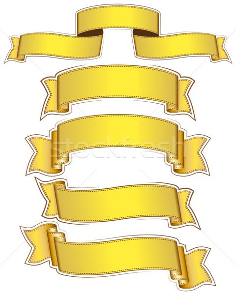 Nagy szett arany szalag fehér háttér Stock fotó © zybr78