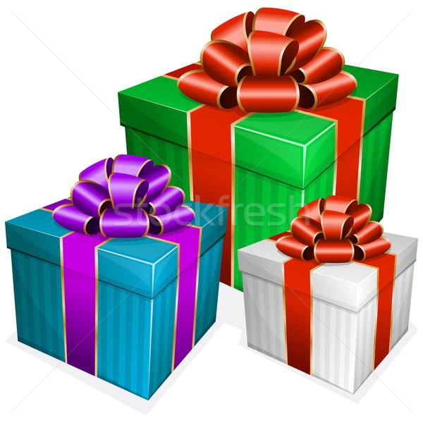 Ajándék doboz íj gyűjtemény születésnap doboz csoport Stock fotó © zybr78