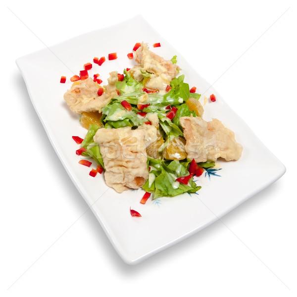 Salad with salmon tempura Stock photo © zybr78