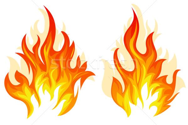 Dois vetor fogo conjunto diferente chama Foto stock © zybr78