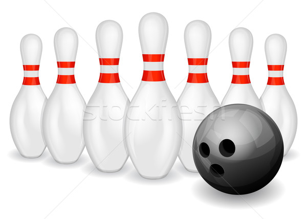 Bowling topu bowling siyah sanat eğlence Stok fotoğraf © zybr78