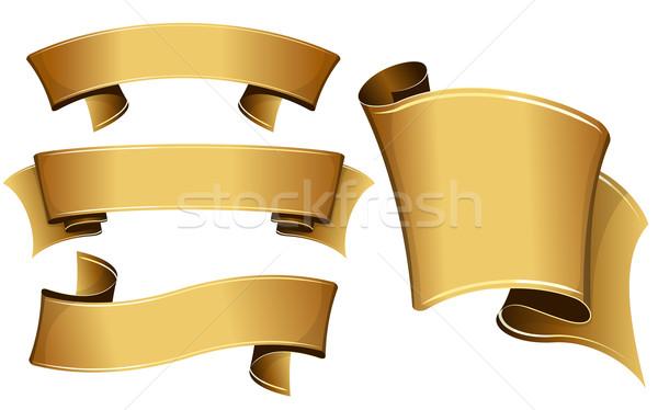 Arany szalag szett gyűjtemény retro siker Stock fotó © zybr78