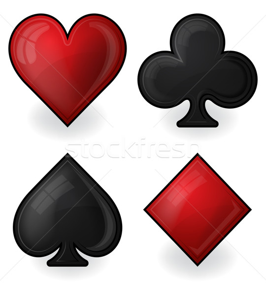 Collection of card suit icons in black and red Stock photo © zybr78