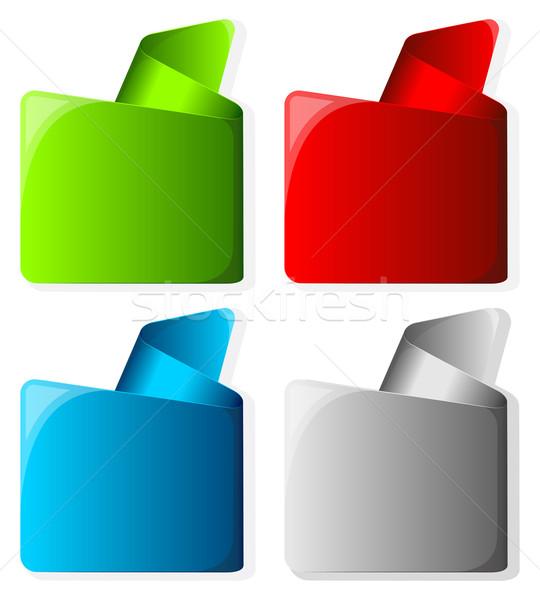 Coleção etiqueta enrolado borda diferente cor Foto stock © zybr78