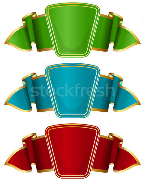 Collection frame with ribbon in 3 color Stock photo © zybr78
