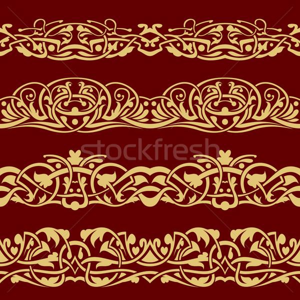 Gold floral seamless border  Stock photo © zybr78
