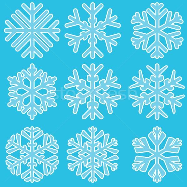Mértani kék hópelyhek szett terv hó Stock fotó © zybr78