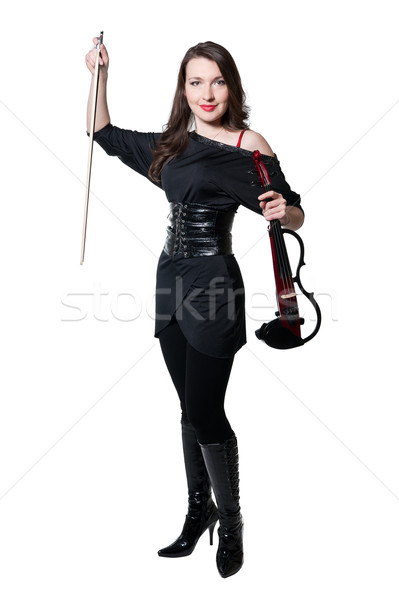 Violinist girl in black dress Stock photo © zybr78