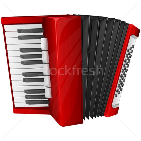 красный аккордеон изолированный белый фортепиано ключевые Сток-фото © zybr78