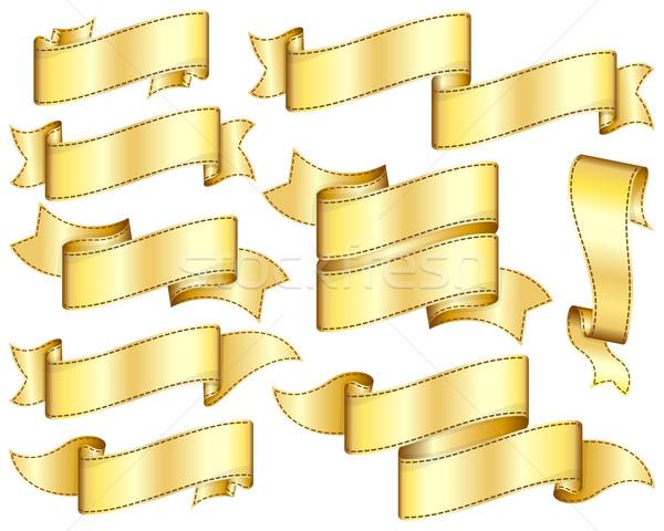 Arany szalag szett dizájn elem háttér felirat Stock fotó © zybr78