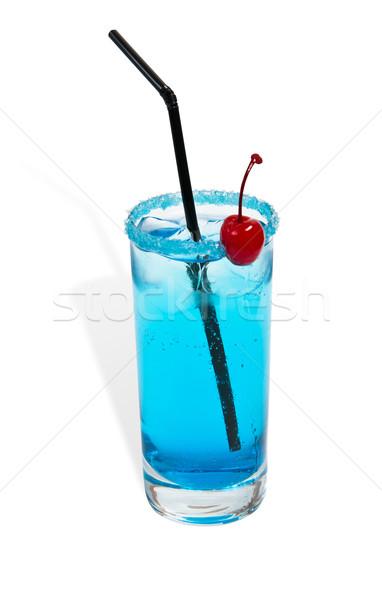 Koktél kék izolált fehér gyümölcs üveg Stock fotó © zybr78