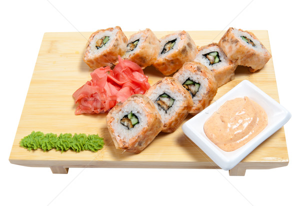 rolled sushi on wooden stand Stock photo © zybr78