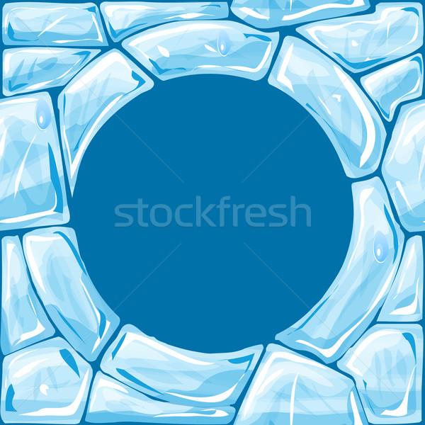 Keret kék jég végtelen minta tégla absztrakt Stock fotó © zybr78