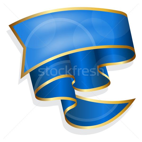 Nagy kék szalag izolált fehér eps10 Stock fotó © zybr78