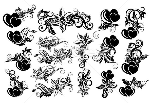 Fekete virágmintás dizájn elem nagy szett szívek Stock fotó © zybr78