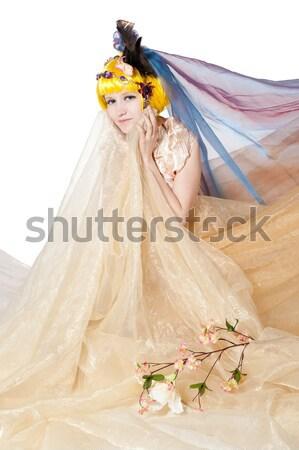 Foto stock: Beautiful · girl · princesa · tecido · isolado · branco · mulher