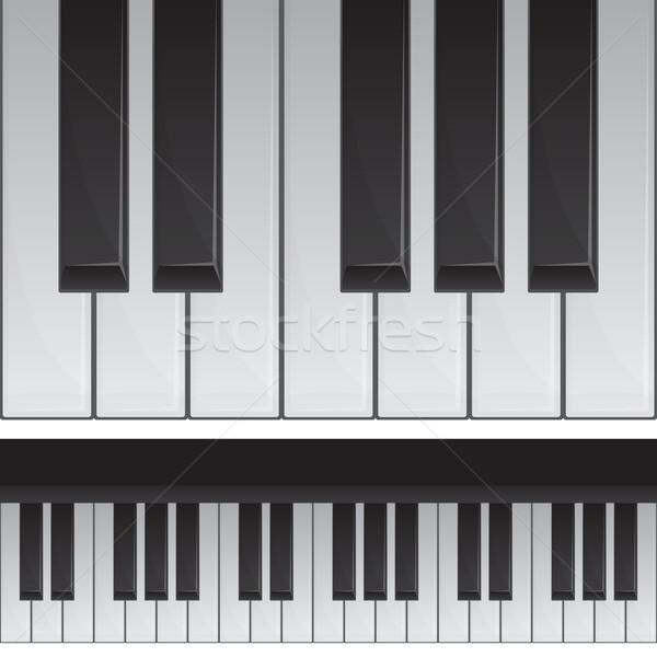 Zongora billentyűk átláthatóság használt illusztráció zene művészet Stock fotó © zybr78