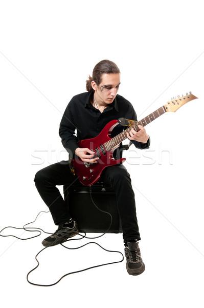 Gitarist kırmızı gitar genç beyaz güzellik Stok fotoğraf © zybr78