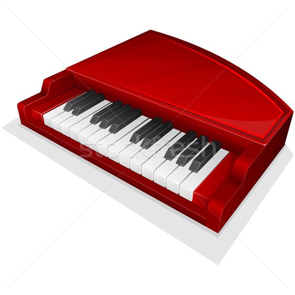 Vektor ikon kicsi piros zongora izolált Stock fotó © zybr78