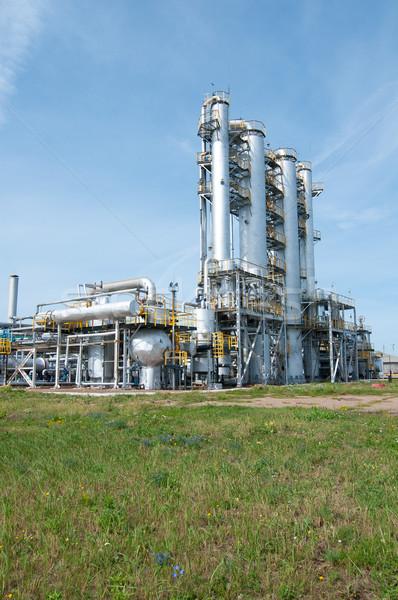 Oszlop benzin olajipar épület technológia kék Stock fotó © zybr78