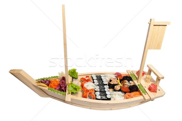 Photo stock: Sushis · bois · stand · forme · bateau