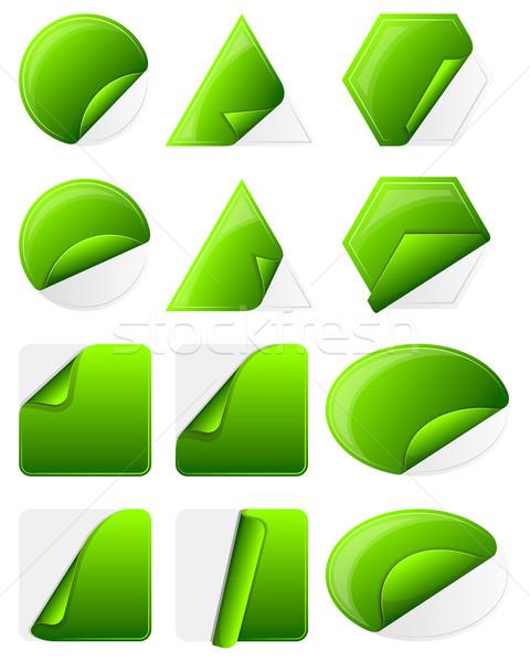 Green sticker label Stock photo © zybr78