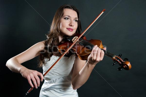 Hegedűművész fekete arc nők haj művészet Stock fotó © zybr78