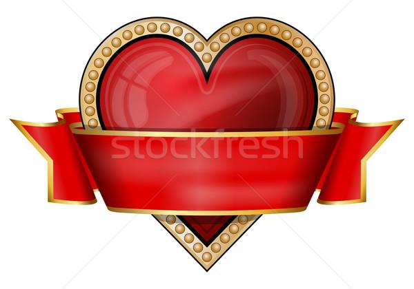 Szívek kártya öltöny ikonok szalag piros Stock fotó © zybr78