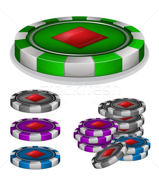 фишки казино алмазов знак спорт группа красный Сток-фото © zybr78