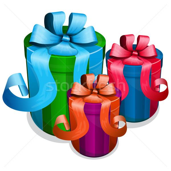 Ajándék doboz íj gyűjtemény esküvő doboz ajándék Stock fotó © zybr78