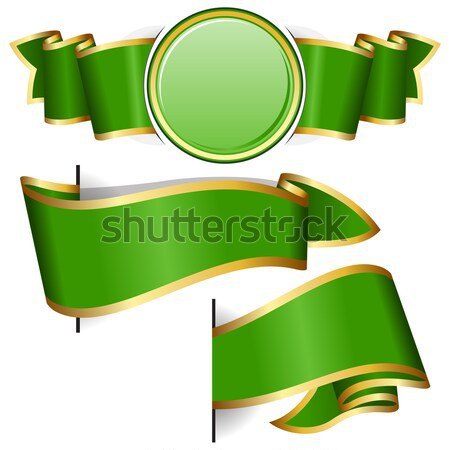 Green round frame with ribbon Stock photo © zybr78
