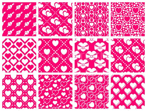Végtelen minta gyűjtemény szett 12 Valentin nap nap Stock fotó © zybr78
