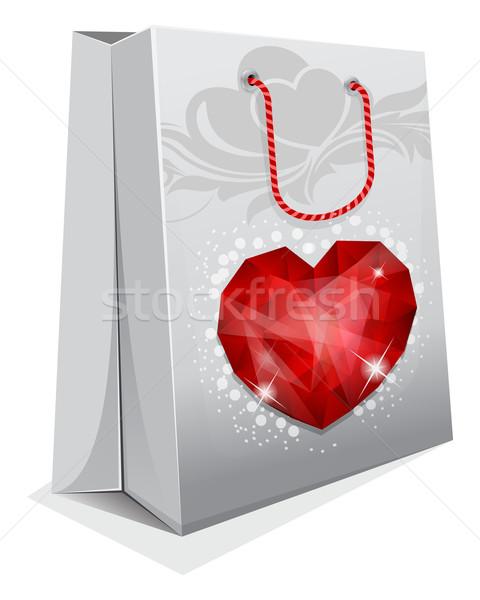 Torby papierowe klejnot serca ślub zakupy worek Zdjęcia stock © zybr78